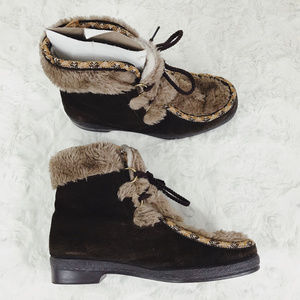 VTG YODELERS Lace Up Suede Fur Winter Boots 7